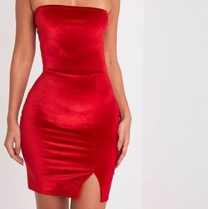 A velvet mini bodycon dress